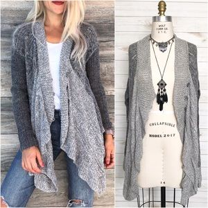 FREE PEOPLE Hemingway Cape Grey Sweater Cardigan